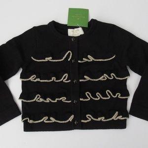Kate Spade Black Metallic Ruffle Cardigan Sweater